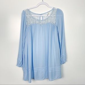 Altar'd State Baby Blue Blouse Tunic Size Medium